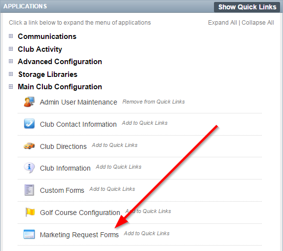 2 Click On Main Club Configuration In The Applications Box Then Marketing Request Forms